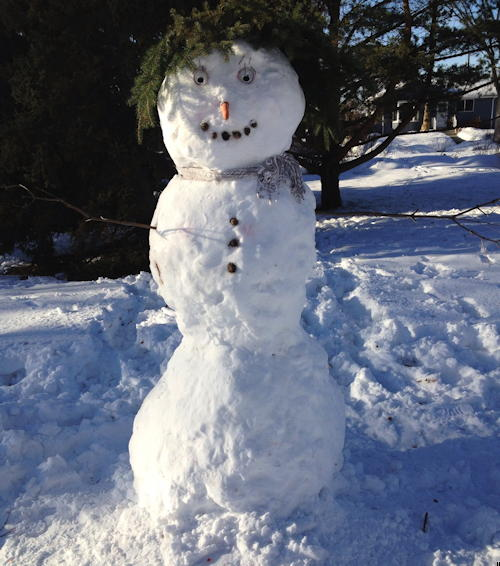 A snowman image from a park in the Argyll neighbourhood